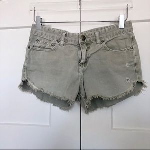 Free People Distressed Frayed Denim Jean Shorts